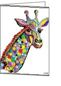 Lavender Greeting Cards - Giraffe Greeting Card by Eloise Schneider