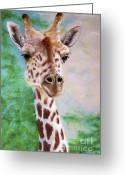 African Animals Painting Greeting Cards - Giraffe Portrait Greeting Card by Marie Stone Van Vuuren