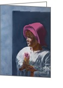 Ice Cream Cornet Greeting Cards - Girl in Pink Hat Greeting Card by Beryl Noyce