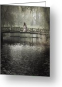 Romantic Floral Greeting Cards - Girl On Bridge Greeting Card by Joana Kruse