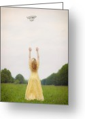 Throw Photo Greeting Cards - Girl On Meadow Greeting Card by Joana Kruse