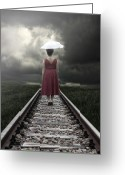 Umbrella Greeting Cards - Girl On Tracks Greeting Card by Joana Kruse