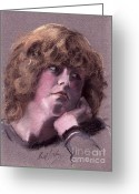 Russell Kightley Greeting Cards - Girl Portrait in Pastels Greeting Card by Russell Kightley