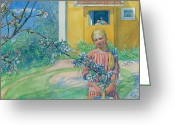 Blonde Girl Greeting Cards - Girl with Apple Blossom Greeting Card by Carl Larsson