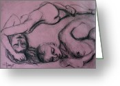 Nudes Drawings Greeting Cards - Girls Dreaming Greeting Card by Carmen Tyrrell