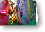 Fractal Glass Art Greeting Cards - Glass Painting 24 detail 5 Greeting Card by Patrick Morgan