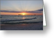 Panama City Beach Greeting Cards - Glowing Sunset Greeting Card by Sandy Keeton