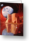 Taos Greeting Cards - God Is In The Moon Greeting Card by Art West
