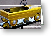 Mary Deal Greeting Cards - Gold Kiddie Car Greeting Card by Mary Deal