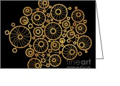 Wall Art Drawings Greeting Cards - Golden Circles Black Greeting Card by Frank Tschakert