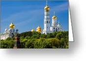 Archangel Greeting Cards - Golden Domes of Moscow Kremlin Greeting Card by Alexander Senin