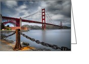 Suspension Bridge Greeting Cards - Golden Gate Bridge Greeting Card by Eduard Moldoveanu