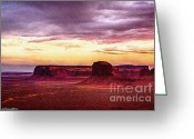Parks Mixed Media Greeting Cards - Golden Hour Five AM in Monument Valley Greeting Card by Bob Johnston