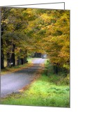 Winding Road Greeting Cards - Golden Journey Greeting Card by Christina Rollo