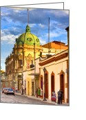 Illustrative Greeting Cards - Gorgeous Streets Of Oaxaca Mexico Greeting Card by Mark E Tisdale