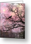 Ravens And Crows Photography Greeting Cards - Gothic Fantasy Surreal Ravens In Trees Greeting Card by Kathy Fornal