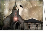 Surreal Fantasy Gothic Church Greeting Cards - Gothic Surreal Fantasy Church With Ravens Flying Greeting Card by Kathy Fornal