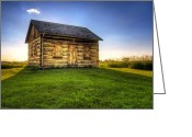 Dusk Greeting Cards - Gotten Log Cabin Greeting Card by Scott Norris