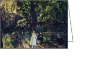 Featured Greeting Cards - Gramercy Park Greeting Card by George Wesley Bellows