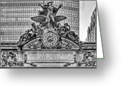 Jules Photo Greeting Cards - Grand Central BW Greeting Card by JC Findley