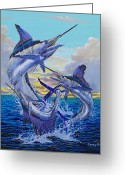 Marlin Azul Greeting Cards - Grand Slam Greeting Card by Carey Chen