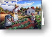 Amish Family Greeting Cards - Grandmother Mother Family Garden Rural Farm Country Landscape 5x7 greeting card Greeting Card by Walt Curlee