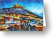 Leonid Afremov Greeting Cards - Greece Lesbos Island 2 Greeting Card by Leonid Afremov