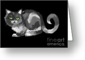 Nick Gustafson Greeting Cards - Green Eyed Cat Greeting Card by Nick Gustafson