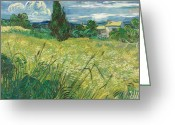 Green Field Painting Greeting Cards - Green Field Greeting Card by Vincent van Gogh