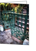 Wrought Iron Stairs Greeting Cards - Green Gate of Savannah Greeting Card by John Rizzuto