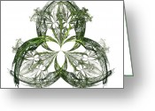 Lacy Fractal Greeting Cards - Green Irish Shamrock Fractal Motif Greeting Card by Jane McIlroy