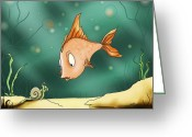 Sea Life Digital Art Greeting Cards - Greetings Greeting Card by Hank Nunes