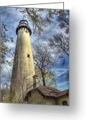 Signal Greeting Cards - Grosse Point Lighthouse Color Greeting Card by Scott Norris