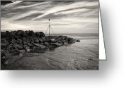 Dave Greeting Cards - Groyne Marker Greeting Card by David Bowman