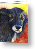 One Animal Painting Greeting Cards - Grumpy Old Dog Greeting Card by Kerrie  Hubbard