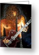 Jamming Painting Greeting Cards - Guitar - In the Zone Greeting Card by Absinthe Art  By Michelle Scott
