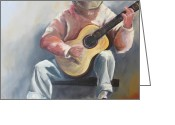 Jamming Painting Greeting Cards - Guitar Man Greeting Card by Susan Richardson