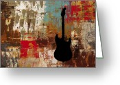 Guitar Greeting Cards - Guitar Solo Greeting Card by Carmen Guedez