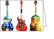 Guitar Mixed Media Greeting Cards - Guitar Threesome - Colorful Guitars By Sharon Cummings Greeting Card by Sharon Cummings