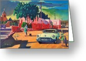 Taos Greeting Cards - Guys Dolls and Pink Adobe Greeting Card by Art West