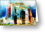Rabat Painting Greeting Cards - Hadrians Arch Greeting Card by Catf