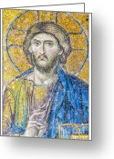 Byzantine Icon Photo Greeting Cards - Hagia Sofia Jesus mosaic Greeting Card by Antony McAulay
