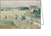 Featured Greeting Cards - Hanging the Laundry out to Dry Greeting Card by Berthe Morisot