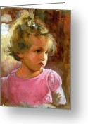 Innocence Greeting Cards - Hannah Greeting Card by Douglas Simonson