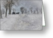 Horse And Buggy Greeting Cards - Happy New Year Greeting Card by Lori Deiter
