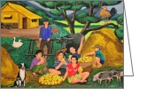 Philippines Art Greeting Cards - Harvest Time Greeting Card by Cyril and Lorna Maza