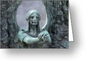 Angel Statue Greeting Cards - Haserot Weeping Angel Greeting Card by Dale Kincaid