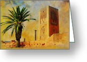 Rabat Painting Greeting Cards - Hassan Tower Greeting Card by Catf