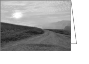 Robert Harmon Greeting Cards - Hazy Morning Black and White Greeting Card by Robert Harmon