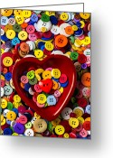 Disks Greeting Cards - Heart bowl with buttons Greeting Card by Garry Gay